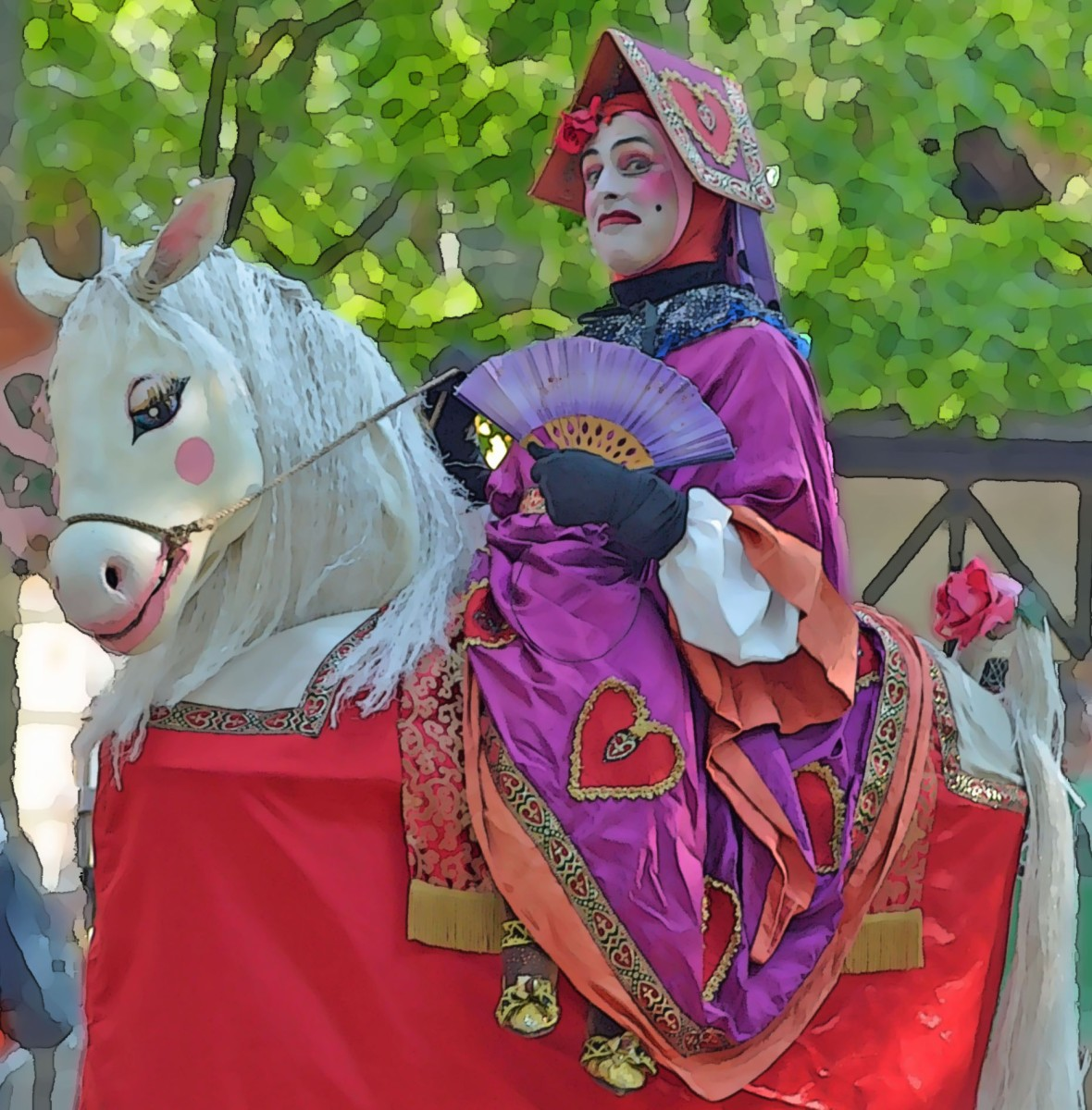The queen of hearts shall ride her pretty pony in the parade.